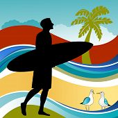 surfer with tropical background