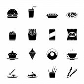 Fast Food Icons and Symbols Silhouette Set Vector Illustration