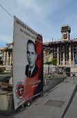 KIEV, UKRAINE - APR 28, 2014:Stephan Bandera poster (Ukrainian nationalist icon ) Kiev under occupat