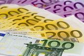 Macro Stack Of Money With 100 200 And 500 Euro Banknotes
