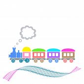stock photo of loco  - Cute colorful retro train with waved track isolated - JPG