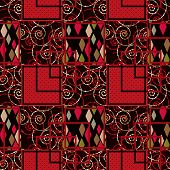 Geometric Rhombs And Swirls Seamless Pattern On Black Background