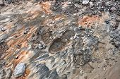 stock photo of oxidation  - A boot print in the mud of a mining operation. Oxidized residue from ore rust and dirt.