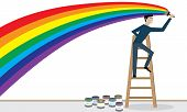 Man is painting a rainbow