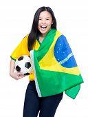 Cheering brazilian sports fans