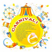 stock photo of merry-go-round  - Amusement entertainment carnival theme park design invitation flyer vector illustration - JPG