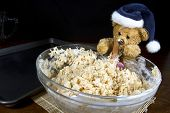 Holiday Bear Making Puffed Rice Cereal
