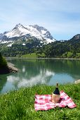 Picnic in Alpine meadow. Switzerland