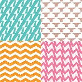 Seamless geometric chevron zigzag and thunderbolt pattern background set in vector