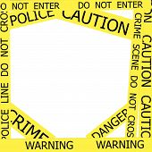 Warning, Caution, Crime, Police  Signs  Frame On White Background