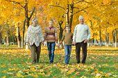 Friendly family walking