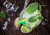 picture of mojito  - Fresh mojito drink on wooden table - JPG