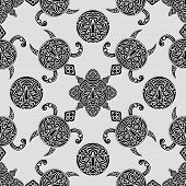 Vector Seamless Pattern With Polynesian Symbols
