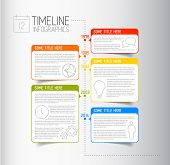 stock photo of descriptive  - Vector Infographic timeline report template with icons and descriptive bubbles - JPG