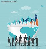Business people silhouettes with city and modern design globe. Vector illustration.