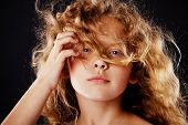 foto of little girls photo-models  - pretty little girl with windy hair - JPG