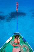 image of dhoni  - Close up of a traditional maldivian boat dhoni in a tropical ocean - JPG