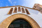 Javea Sant Abastos market and Sant Bertomeu church in Alicante Spain