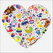 Baby Toys Icons In Heart.set Collection