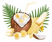 Cracked coconut with milk splash and slices of ripe bananas. Coconut - bananas cocktail. Vector illustration.