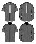 Vector illustration of dress shirts (button-down) with  and without neckties. Short and long sleeve.
