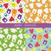 Colorful Clothes For Newborn Baby In Seamless Pattern