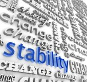 picture of safe haven  - The word Stability surrounded by many versions of the word Change - JPG
