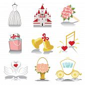 Design Wedding  Icons For Web And Mobile In Retro Vector