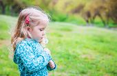 Adorable Little Girl Blowing Off Dandelion