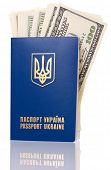 International Ukrainian passport with US dollars isolated on background