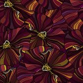 Bright Pansy Flowers Seamless Backround
