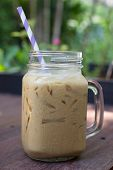 stock photo of frappe  - Iced coffee with milk is on the table - JPG