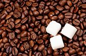 Coffee beans with lump sugar - top view