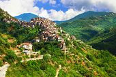 Apricale  - beautiful medieval  hill top village .Liguria, Italy