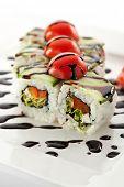 Vegetarian Maki Sushi Topped with Tomato