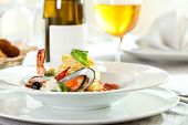 Delicious Seafood Spaghetti Selective Focus