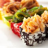 Japanese Cuisine - Maki Sushi with Ginger and Wasabi