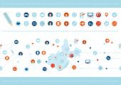 Seamless Pattern And Set Of Flat Design Icons For Business, Seo