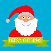 Cartoon Santa Claus And Green Ribbon With Dash Line. Merry Chris