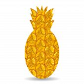 Pineapple Peel. Silhouette Of Pineapple On A White Background.