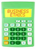 Calculator With Business Ethics Display Isolated