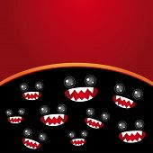 Party Card. Monsters Eyes And Toothy Mouth On Black And Burgundy Background