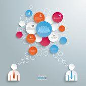 Colored Speech Bubble Circles 2 Businessmen