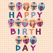 Happy Birthday Card, Cute Owls.  Blue, Pink, Purple, Orange Background