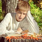 Teenager Reading Outdoor