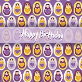 Happy Birthday Card. Pattern Orange Russian Dolls Matryoshka On A Purple Background.
