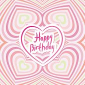 Happy Birthday Card. Pink Abstract Background. Optical Illusion Of 3D Three-dimensional Volume.