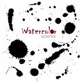 Watercolor splatters. Isolated vector splashes