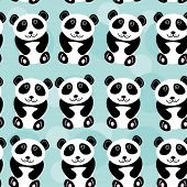 Panda Seamless Pattern With Funny Cute Animal On A Blue Background