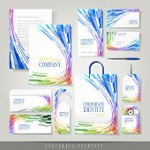 Colorful Wave Shaped Stripes Background For Corporate Identity